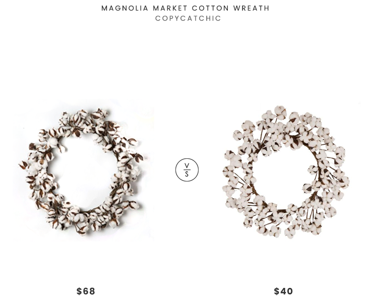 Magnolia Market Cotton Wreath $68 vs Steinmart Glitz Home Faux Cotton Wreath $40 cotton wreath look for less copycatchic luxe living for less budget home decor and design daily finds