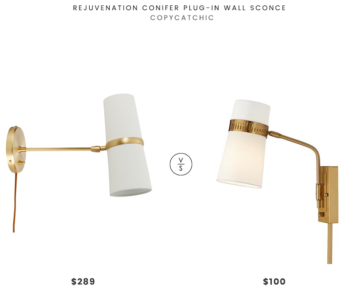 Rejuvenation Conifer Plug-In Wall Sconce $298 vs Cartwright Warm Antique Brass Plug-In Wall Sconce $100 brass mid century wall sconce look for less copycatchic