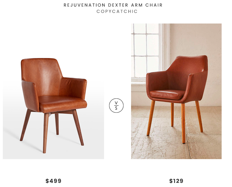 Rejuvenation Dexter Arm Chair $499 Vs Urban Outfitters Nora Saddle Chair  $129 Leather Dining Chair Look