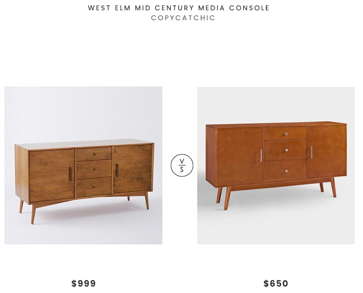 West Elm Mid-Century Media Console $999 vs World Market Extra Wide Acorn Brown Wood Mid-Century Media Stand $650 mid century media look for less copycatchic luxe living for less budget home decor and design daily finds