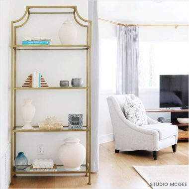 Ballard Designs Silvia Etagere $999 vs Mercer 41 Nichols Standard Bookcase $160 gold etagere look for less copycatchic luxe living for less budget home decor and design daily finds