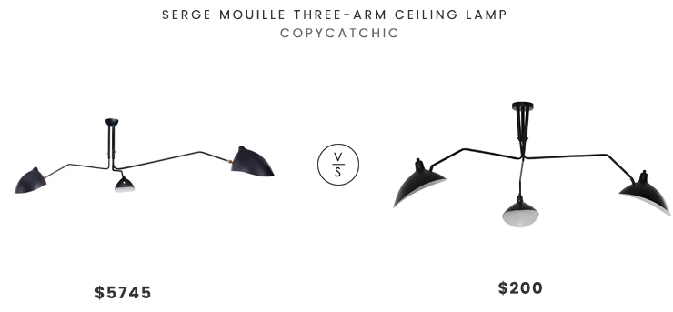 Serge Mouille Three-Arm Ceiling Lamp $5745 vs Modway View Ceiling Fixture $200 midcentury 3 arm ceiling light look for less copycatchic luxe living for less