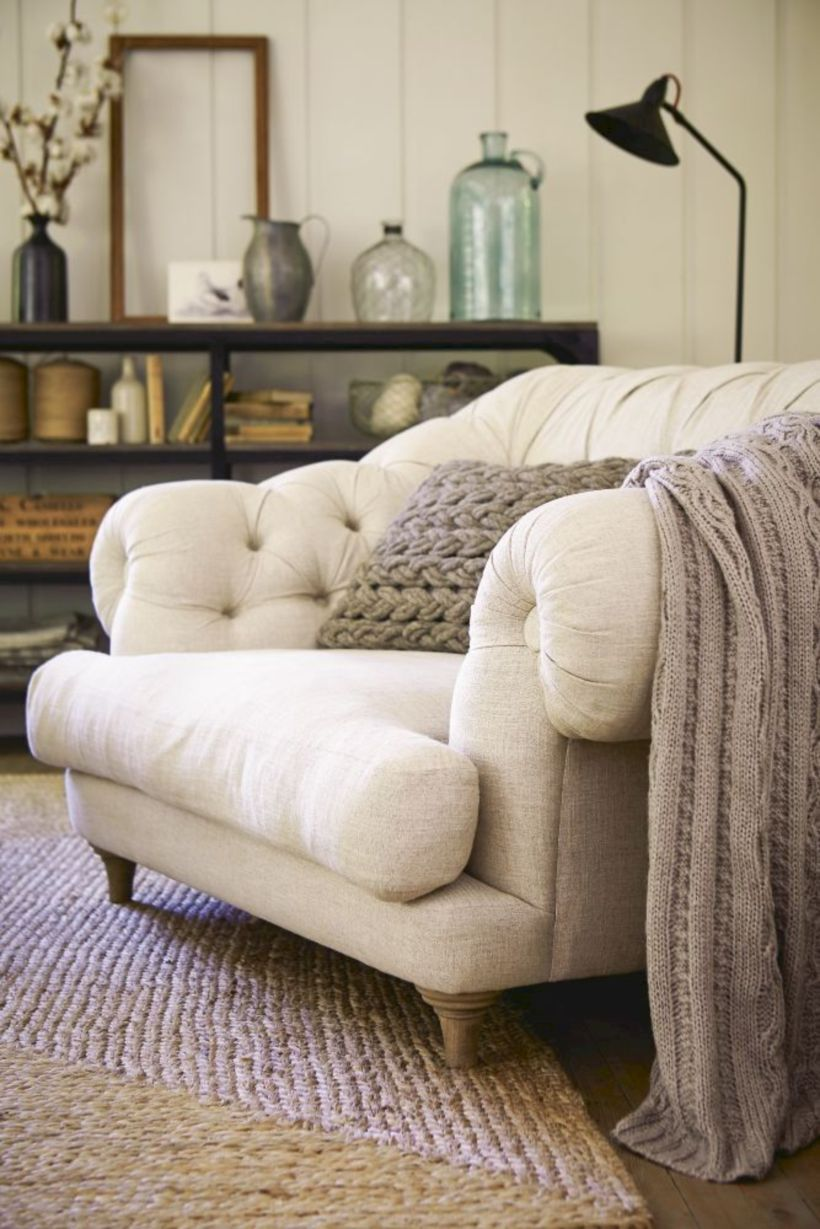 Cococo Home Biltmore Chesterfield Fabric Chair $1549  vs Stone & Beam Bradbury Chesterfield Tufted Accent Chair $699 tufted roll armchair look for less copycatchic luxe living for less budget home decor and design daily finds