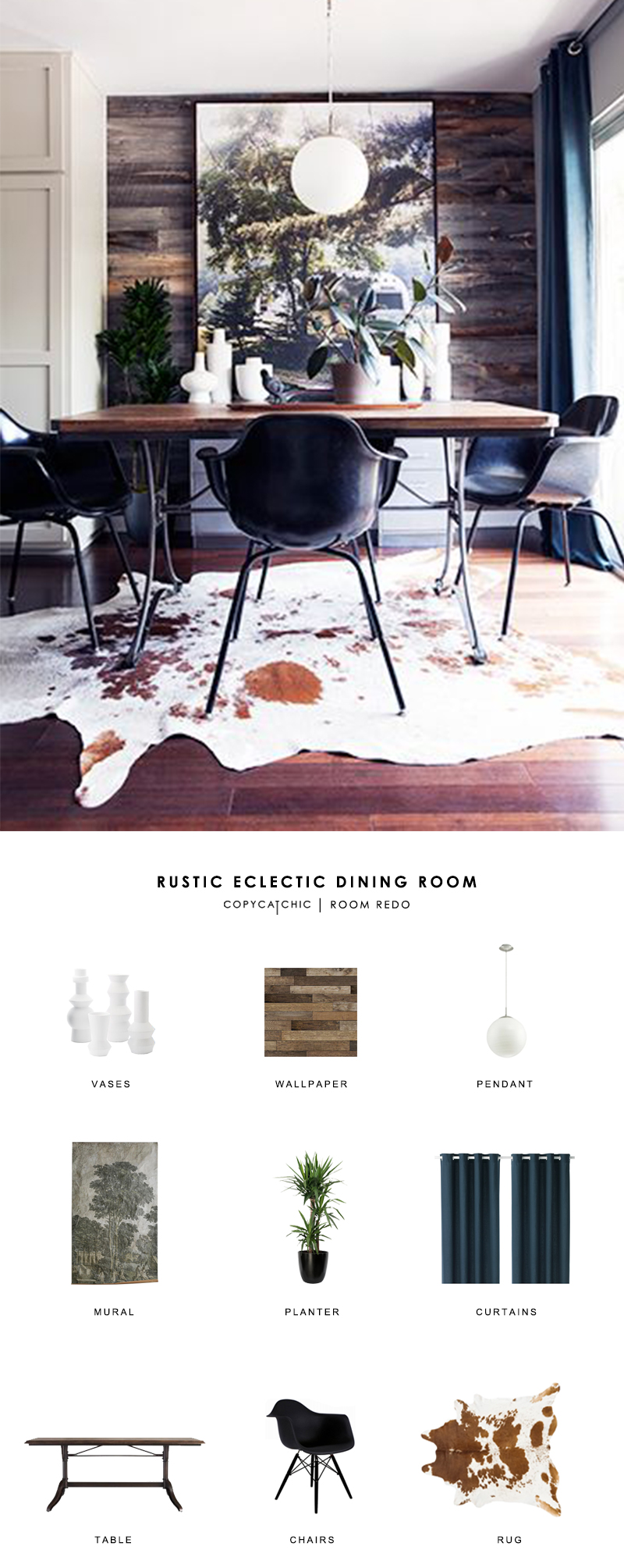 This modern rustic eclectic dining room by Kyle Schuneman gets recreated for less by copycatchic luxe living for less budget home decor and design room redos