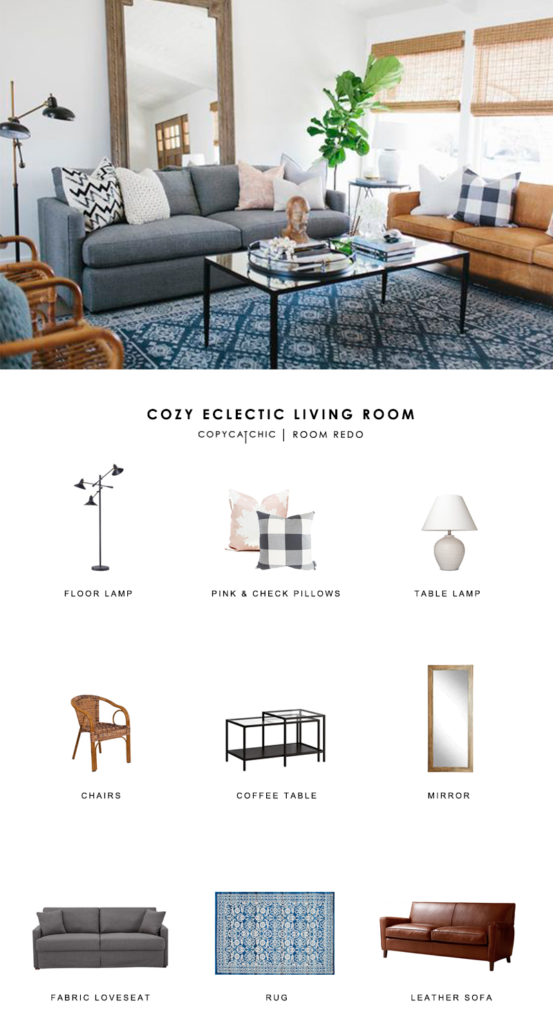 A cozy eclectic blue living room designed by House of Jade Interiors recreated for less by copycatchic luxe living for less budget home decor and design room redo