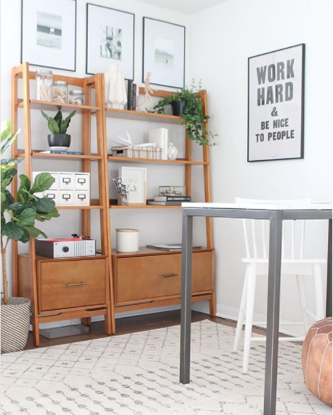 "West Elm Mid-Century Bookshelf $699 vs Joss & Main Naomi 70"" Etagere Bookcase $335 mid century bookshelf look for less copycatchic luxe living for less budget home decor and design daily finds"