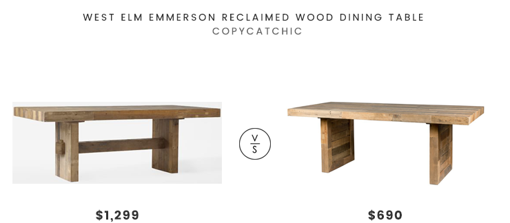 WestElmEmmersonReclaimedWoodDiningTableLookforLess - West elm emmerson reclaimed wood coffee table