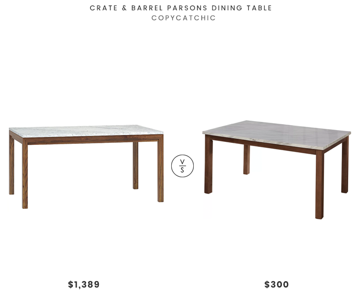 Crate & Barrel Parsons Dining Table $1389 vs Joss & Main Lorna Dining Table $300 modern marble dining table look for less copycatchic luxe living for less budget home decor and design daily finds