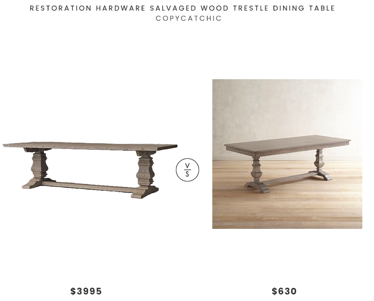 Restoration Hardware Salvaged Wood Trestle Dining Table $3995 vs Pier 1 Bradding Shadow Gray Dining Table $630 gray trestle table look for less copycatchic luxe living for less budget home decor and design daily finds