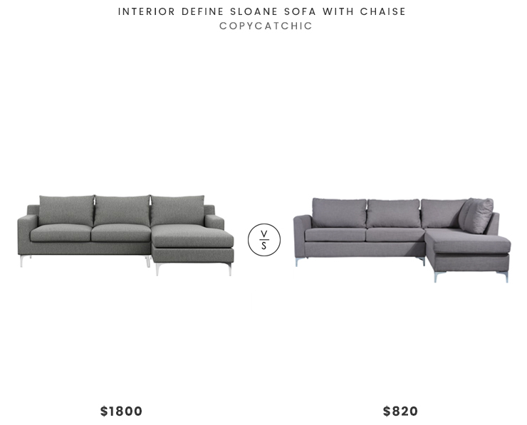 Interior Define Sloane Sofa Chaise $1800 vs All Modern Bickel Sectional $820 modern gray sectional look for less copycatchic luxe living for less budget home decor and design daily finds