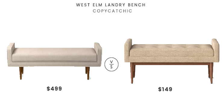 West Elm Landry Bench $499 vs Target Verken Mid Century Modern Settee Bench $149 modern settee look for less copycatchic luxe living for less budget home decor and design daily finds