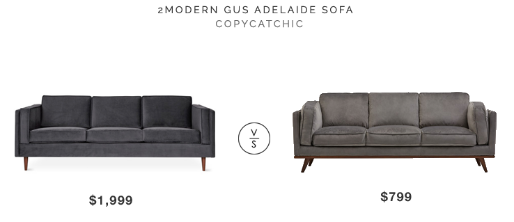 2Modern Gus Adelaide Sofa $1999 vs Structube Rowan Sofa $799 gray velvet sofa look for less copycatchic luxe living for less budget home decor and design daily finds