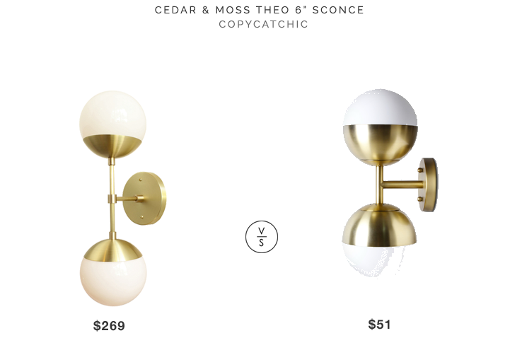 """Cedar & Moss Theo 6"""" Sconce$269 vs Target Geneva Glass Light Double Globe $51 double globe brass sconce look for less copycatchic luxe living for less budget home decor and design daily finds"""