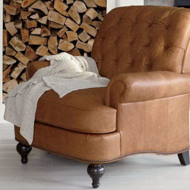 Ethan Allen Shawe Leather Chair $1827 vs Raymour & Flanigan Kasson Recliner $629 brown leather club arm chair look for less copycatchic luxe living for less budget home decor and design daily finds