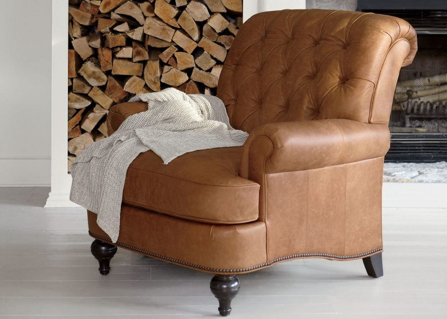 Ethan Allen Shawe Leather Chair $1827 vs Raymour and Flanigan Kasson Recliner $629 brown leather chair rug look for less copycatchic luxe living for less budget home decor and design daily finds