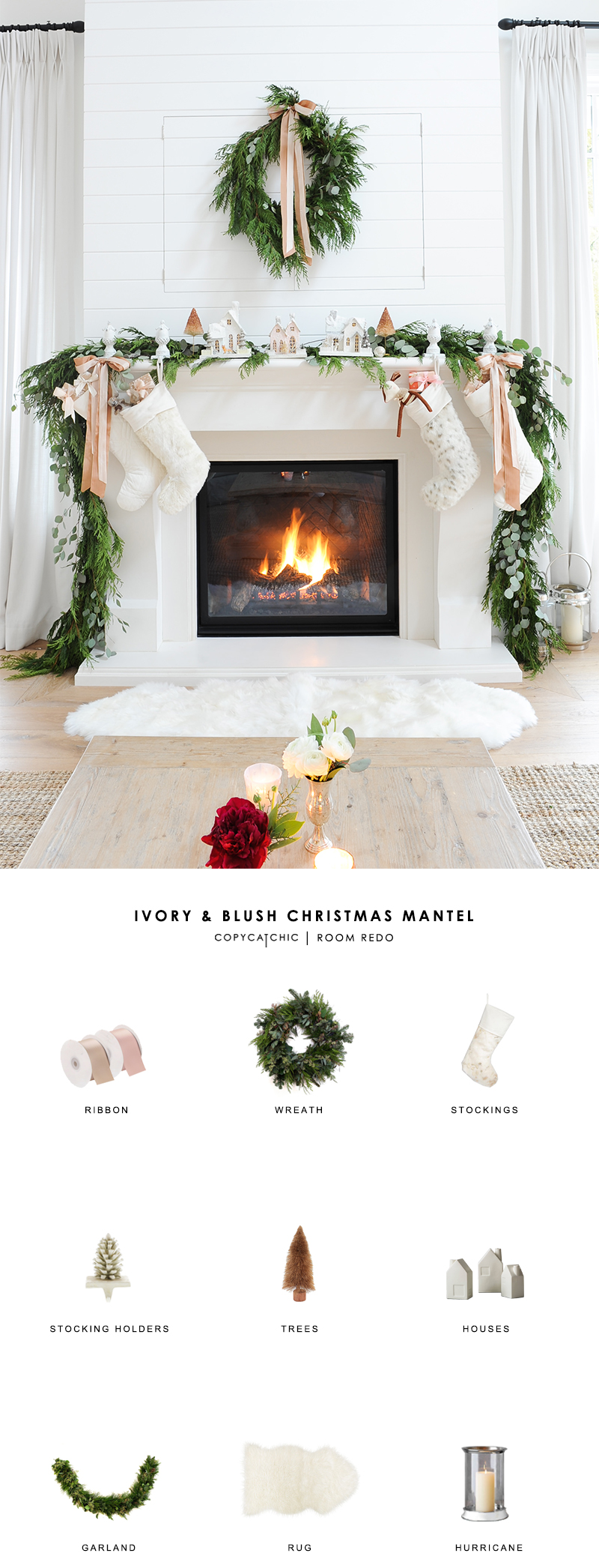 An ivory and blush Christmas and holiday mantel by Monika Hibbs gets recreated for less by copycatchic luxe living for less budget home decor and design