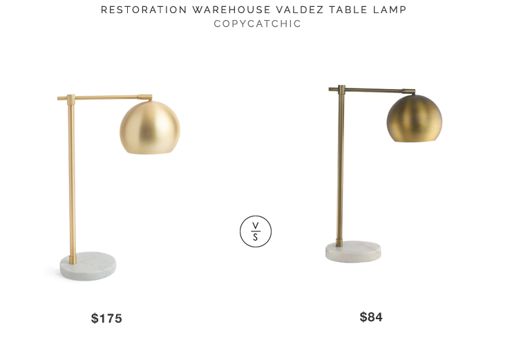 Restoration Warehouse Valdez Table Lamp $175 vs Mercer41 Alexan Desk Lamp $84 brass globe task lamp look for less copycatchic luxe living for less budget home decor and design daily finds
