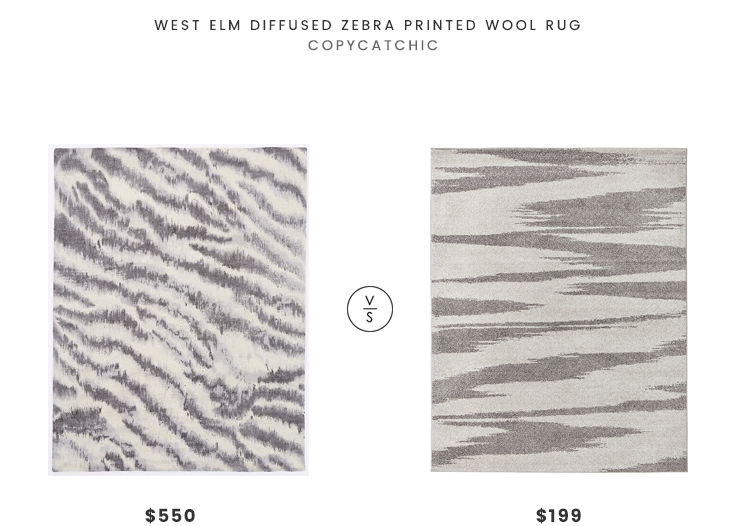 West Elm Diffused Zebra Printed Wool Rug $550 vs Rivet Modern Zebra Print Rug $199 gray zebra print rug look for less copycatchic luxe living for less budget home decor and design daily finds