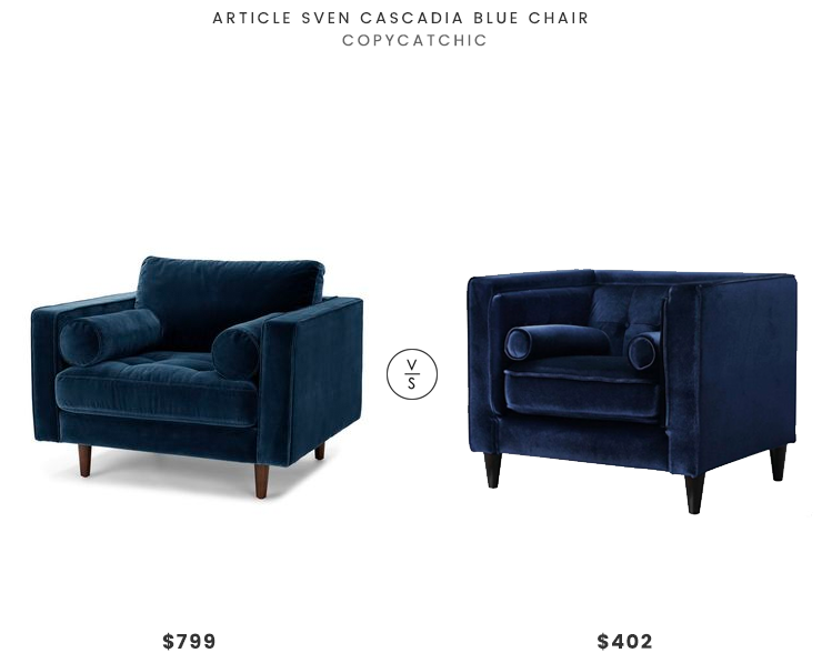 Article Sven Cascadia Blue Chair $799 vs Taylor Navy Velvet Chair $402 navy velvet tufted armchair look for less copycatchic luxe living for less budget home decor and design daily finds