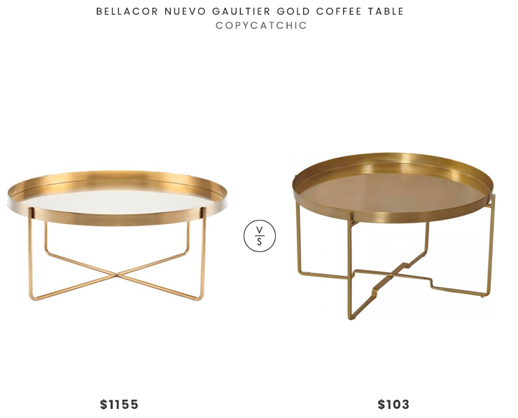 Bellacor Nuevo Gautier Gold Coffee Table $1155 vs Vanstad Iron Gold Accent Table $134 modern brass coffee table look for less copycatchic luxe living for less budget home decor and design look for less daily finds