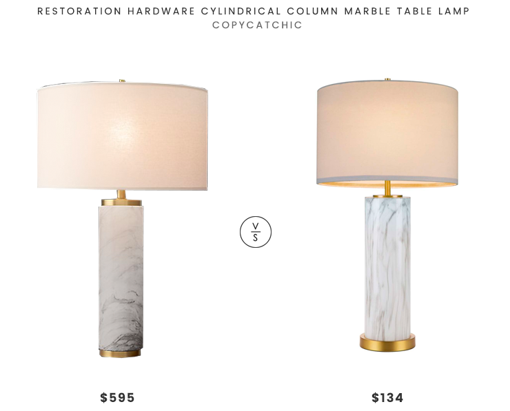 Restoration Hardware Cylindrical Column Marble Table Lamp $595 vs Nordstrom Cupcakes and Cashmere Marble Column Table Lamp $134 marble column table lamp look for less copycatchic luxe living for less budget home decor and design daily finds