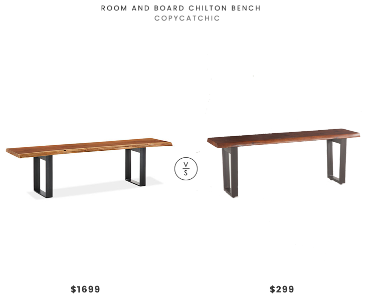 Room and Board Chilton Bench $1699 vs Belfrie Cast Iron Acacia Live Edge Dining Bench $299 raw wood edge bench look for less copycatchic luxe living for less budget home decor and design daily finds