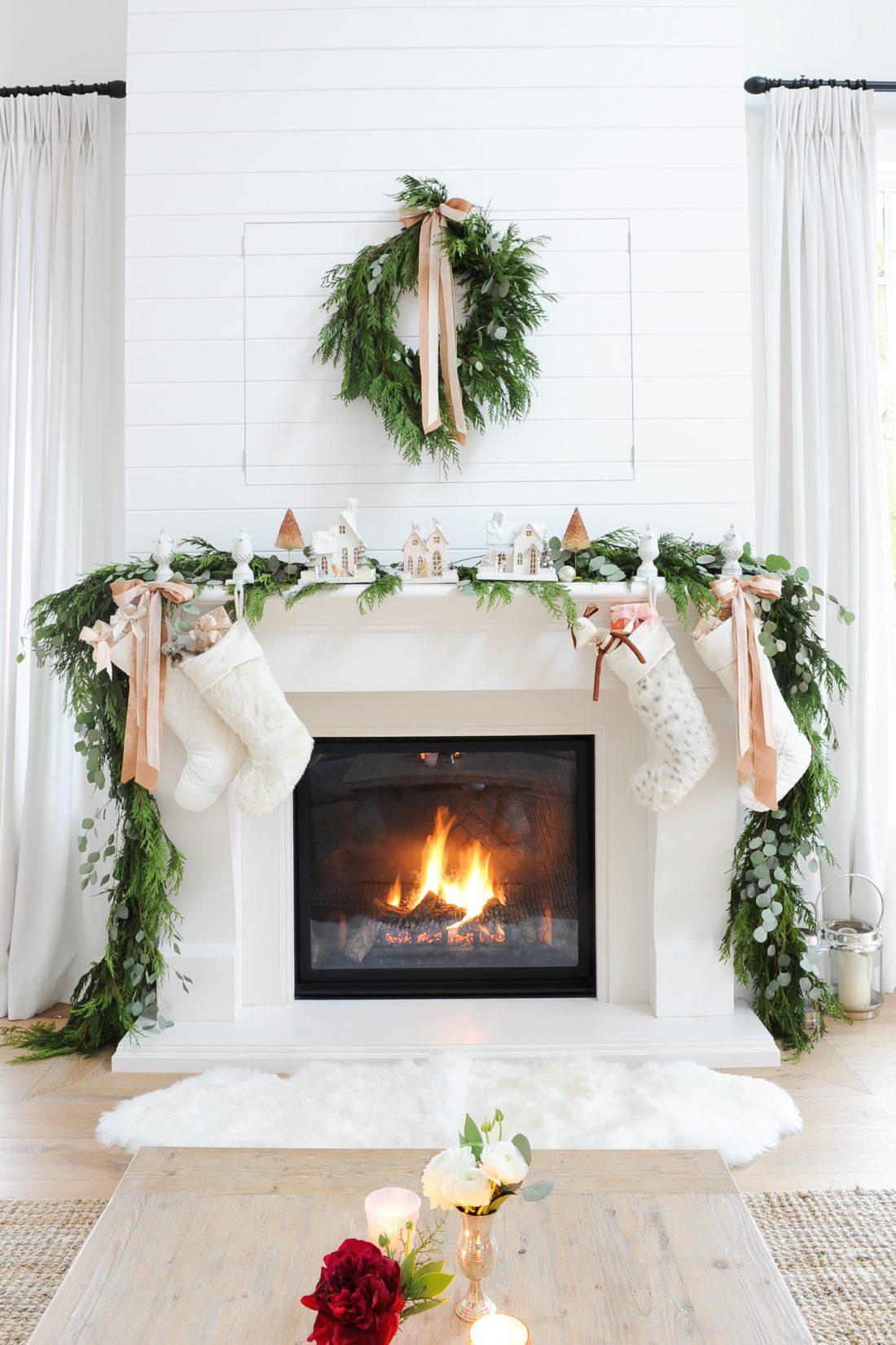 Room Redo | Ivory and Blush Christmas Mantel