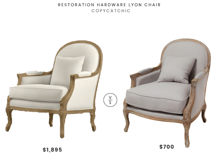 Restoration Hardware Lyon Chair $1895 vs MacArthur Weathered Oak Arm Chair $700 wood linen armchair look for less copycatchic luxe living for less budget home decor and design daily finds