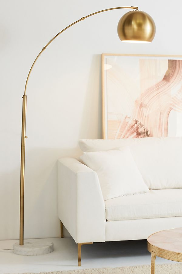 Pacific Coast Lighting Basque Arc Floor Lamp $700 vs Target Project 62 Metal Globe Floor Lamp $90 brass marble arc floor lamp look for less copycatchic luxe living for less budget home decor and design daily finds