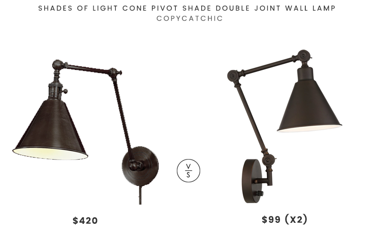 Shades of Light Cone Pivot Shade Double Joint Wall Lamp $420 vs Wray Bronze Metal Plug-In Wall Lamp (set of 2) $99 bronze pivot arm sconce look for less copycatchic luxe living for less budget home decor and design daily finds