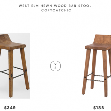 West Elm Hewn Wood Bar Stool$349 vs Overstock Gray Barn Gold Creek Natural Elmwood Bar Stool $185 rustic wood hewn bar stool look for less copycatchic luxe living for less budget home decor and design daily finds and room redos