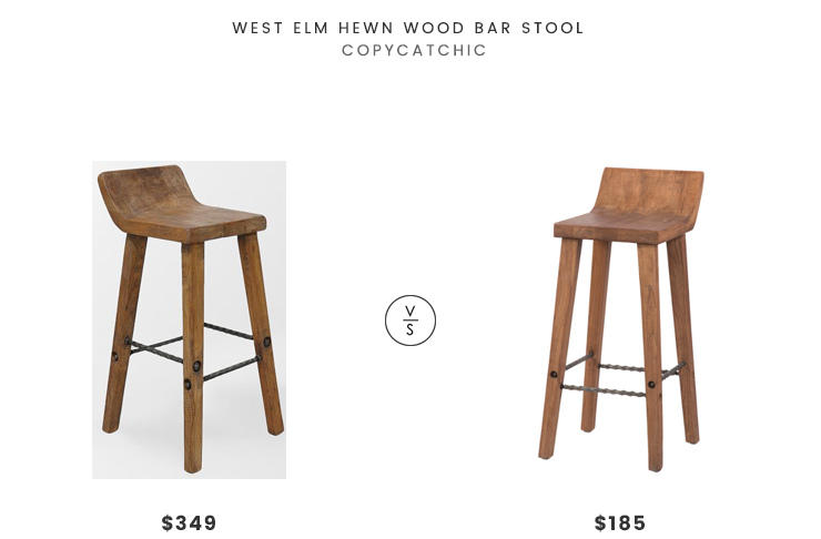 West Elm Hewn Wood Bar Stool $349 Vs Overstock Gray Barn Gold Creek Natural  Elmwood Bar