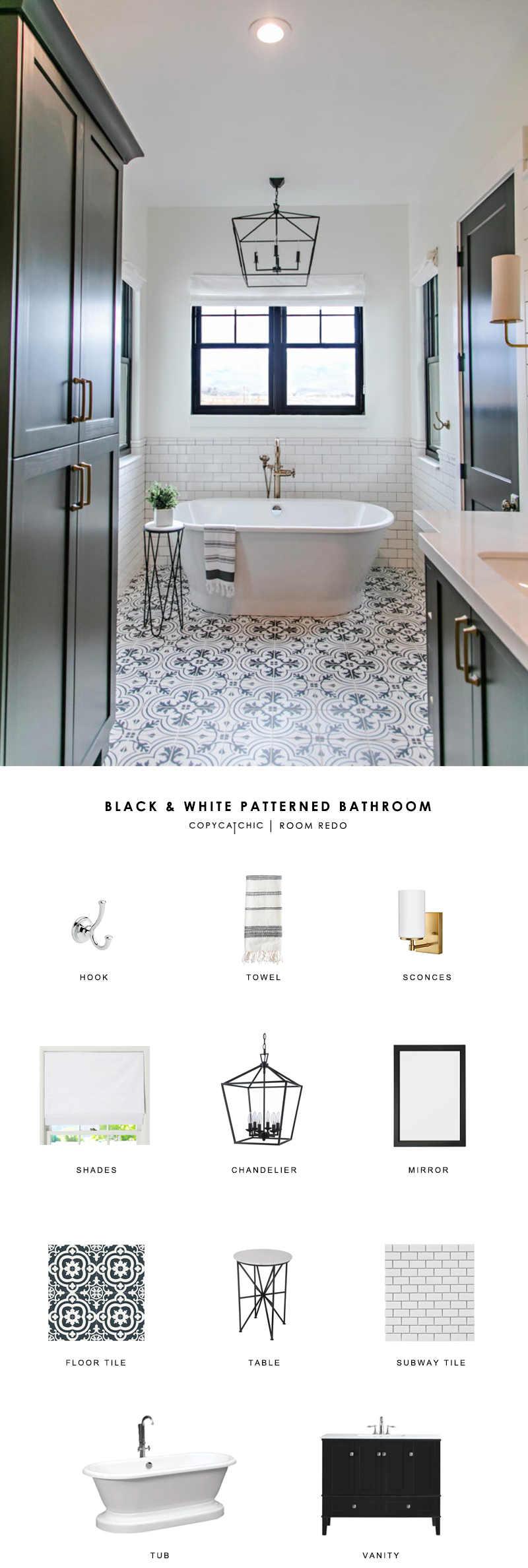 Room Redo | Black and White Patterned Bathroom - copycatchic