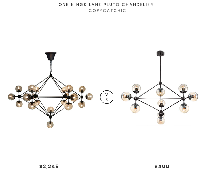 One Kings Lane Pluto Chandelier $2245 vs Possini Euro Gable Chandelier $400 modern globe chandelier look for less copycatchic luxe living for less budget home decor and design daily finds