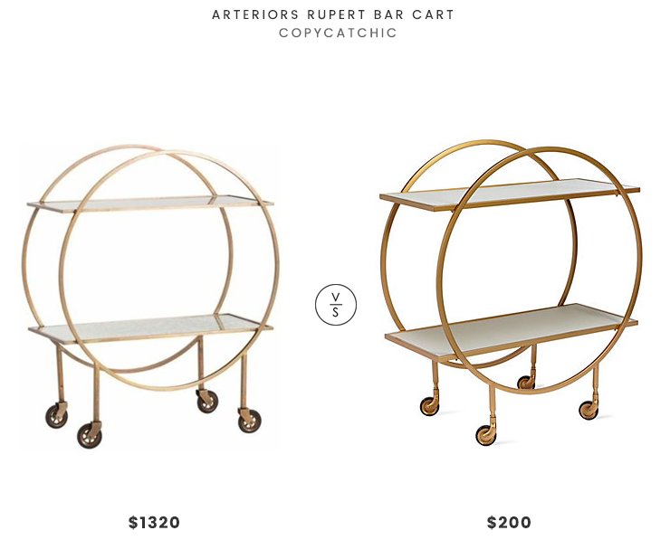 Arteriors Rupert Bar Cart $1320 vs Z Gallerie Russo Bar Cart $200 round deco bar cart look for less copycatchic luxe living for less budget home decor and design daily finds