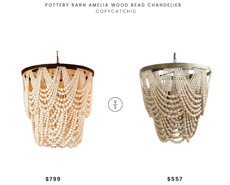 Pottery Barn Amelia Wood Bead Chandelier $799 vs Metal and Wood Bead Chandelier $557 rustic wood bead chandelier look for less copycatchic luxe living for less budget home decor and design daily finds and room redos