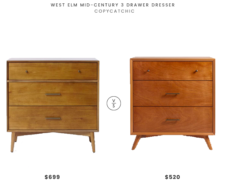 West Elm Mid-Century 3 Drawer Dresser $699 vs World Market Small Acorn Wood Brewton Dresser $520 mid century dresser look for less copycatchic luxe living for less budget home decor and design daily finds