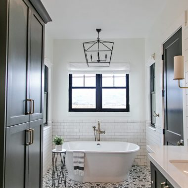 This gorgeous black and white patterned bathroom by Sita Montgomery gets recreated for less by copycatchic luxe living for less budget home decor and design looks for less room redos