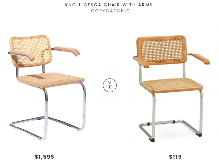 Knoll Cesca Chair with Arms $1,595 vs Structube Mario Armchair $119 cesca chair look for less copycatchic luxe living for less budget home decor and design daily finds