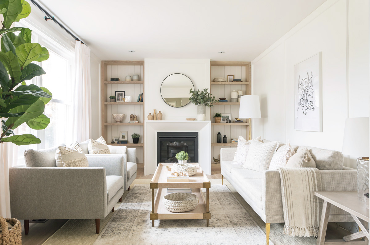 This serene natural and neutral living room from coco for Home decor for less