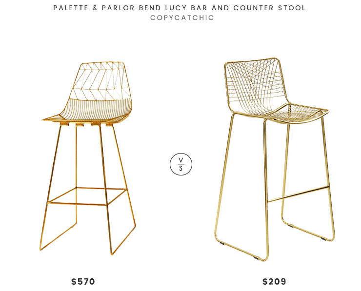 Palette & Parlor Bend Lucy Bar and Counter Stool $570 vs CB2 Alpha Brass Counter Stool $209 modern gold bar stool look for less copycatchic luxe living for less budget home decor and design daily finds