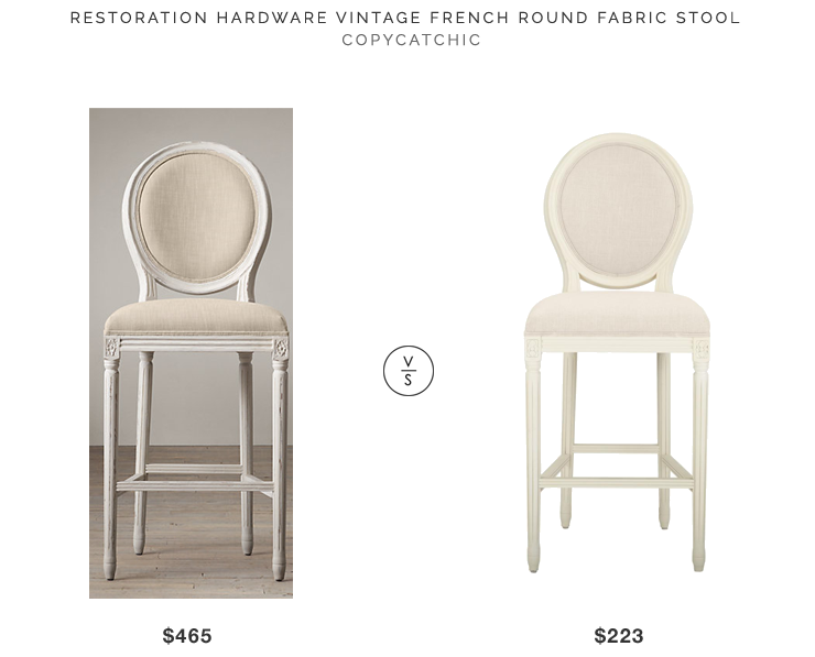Restoration Hardware Vintage French Round Fabric Stool $465 vs Natural Cushioned Bar Stool in Antique Ivory with Oval Back $223 french bar stool look for less copycatchic luxe living for less budget home decor and design daily finds and room redos