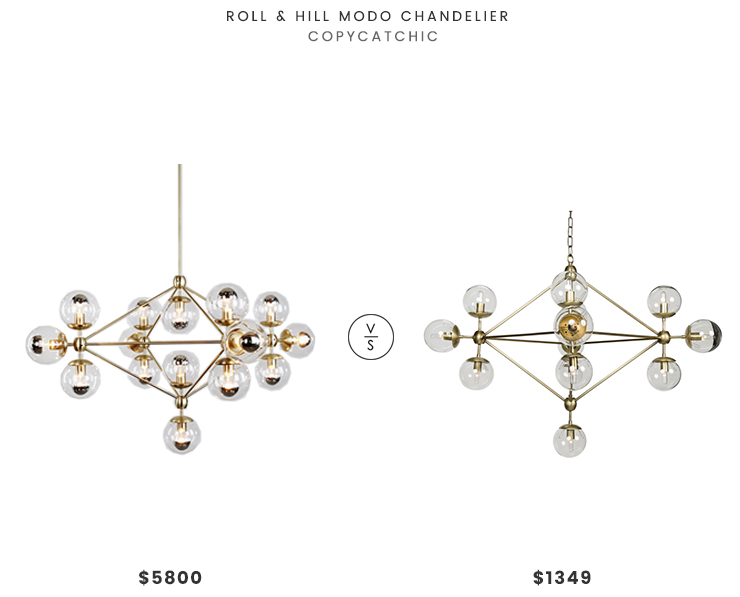 Roll & Hill Modo Chandelier $5800 vs Houzz Orion Chandelier $1349 modern bubble glove chandelier look for less copycatchic luxe living for less budget home decor and design daily finds and room redos