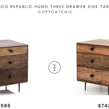 Coco Republic Hugo Three Drawer Side Table$1595 vsThe Khazana Bina Hugh End Table$742reclaimed wood storage side table look for less copycatchic luxe living for less budget home decor and design daily finds and room redos