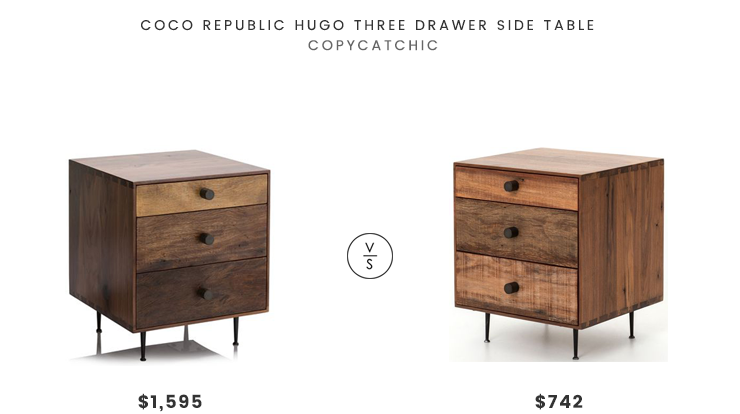 Coco Republic Hugo Three Drawer Side Table $1595 vs The Khazana Bina Hugh End Table $742 reclaimed wood storage side table look for less copycatchic luxe living for less budget home decor and design daily finds and room redos