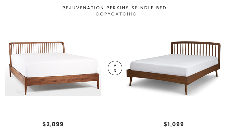 Rejuvenation Perkins Spindle Bed $2899 vs Article Culla Spindle Bed $1099 wood spindle bed look for less copycatchic luxe living for less budget home decor and design daily finds and room redos