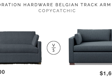 Restoration Hardware Belgian Track Arm Sofa $5700 vs Interior Define Charly Sofa $1600 bench seat sofa look for less copycatchic luxe living for less budget home decor and design daily finds and room redos