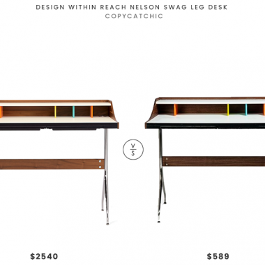 Design Within Reach Nelson Swag Leg Desk $2540 vs Inmod Swag Leg Desk $589 swag leg desk look for less copycatchic luxe living for less budget home decor and design daily finds and room redos