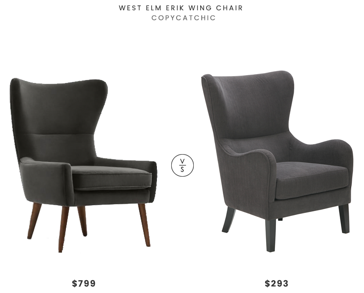 West Elm Erik Wing Chair $799 vs Designer Living Arianna Swoop Wing Chair $293 mid century wing chair look for less copycatchic luxe living for less budget home decor and design daily finds and room redos