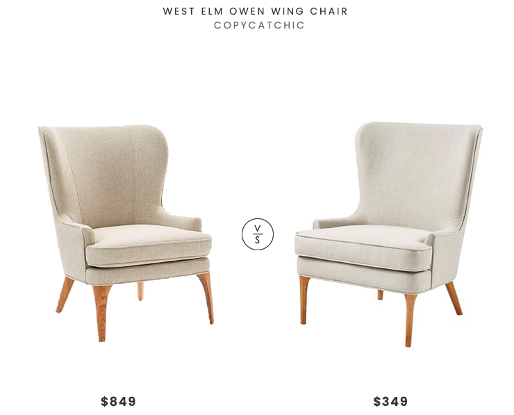 West Elm Owen Wing Chair $849 vs Designer Living Erin Accent Chair $349 west elm wing chair look for less copycatchic luxe living for less budget home decor and design daily finds and room redos